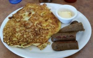 Solstice corn cake & Field Roast sausage